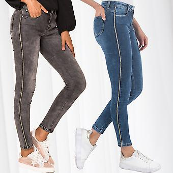 Women's Jeans Contrast Stripes Stretch Pants Skinny Tube Track Pants Trousers