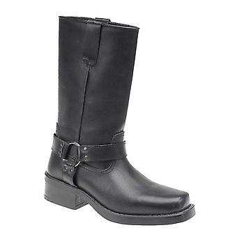 Mens Leather Pull On Western Harness High Leg Biker Boots Shoes