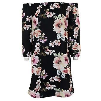 Damen Bardot ab Schulter Crepe texturiert Floral 3/4 Sleeve Mini Flare Kleid