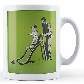 Banksy Printed Mug - Kid on Slide Dog Poo - BKM308