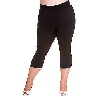 Hell Bunny Black Tina Capri Trousers 4XL