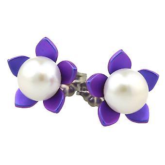 Ti2 Titanium Large Flower and Pearl Stud Earrings - Imperial Purple