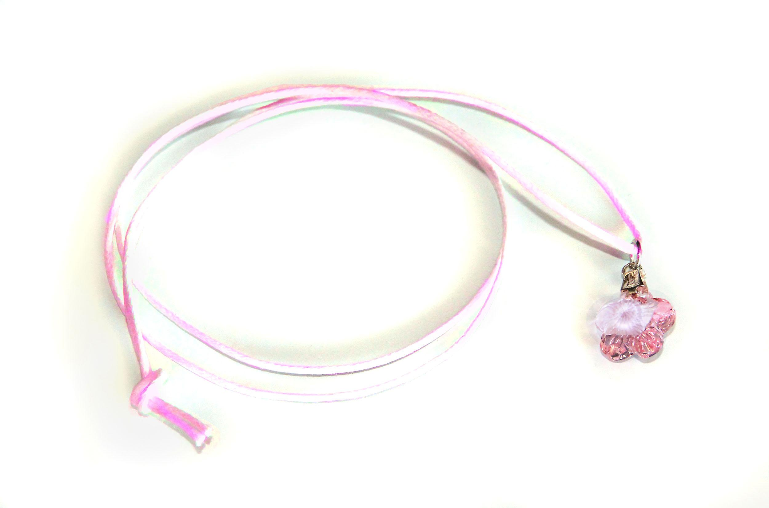Waooh - Jewelry - Swarovski / pendant Pink flower and waxed cord