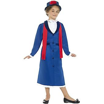 Victorian Nanny Costume, Blue, with Dress, Hat & Scarf