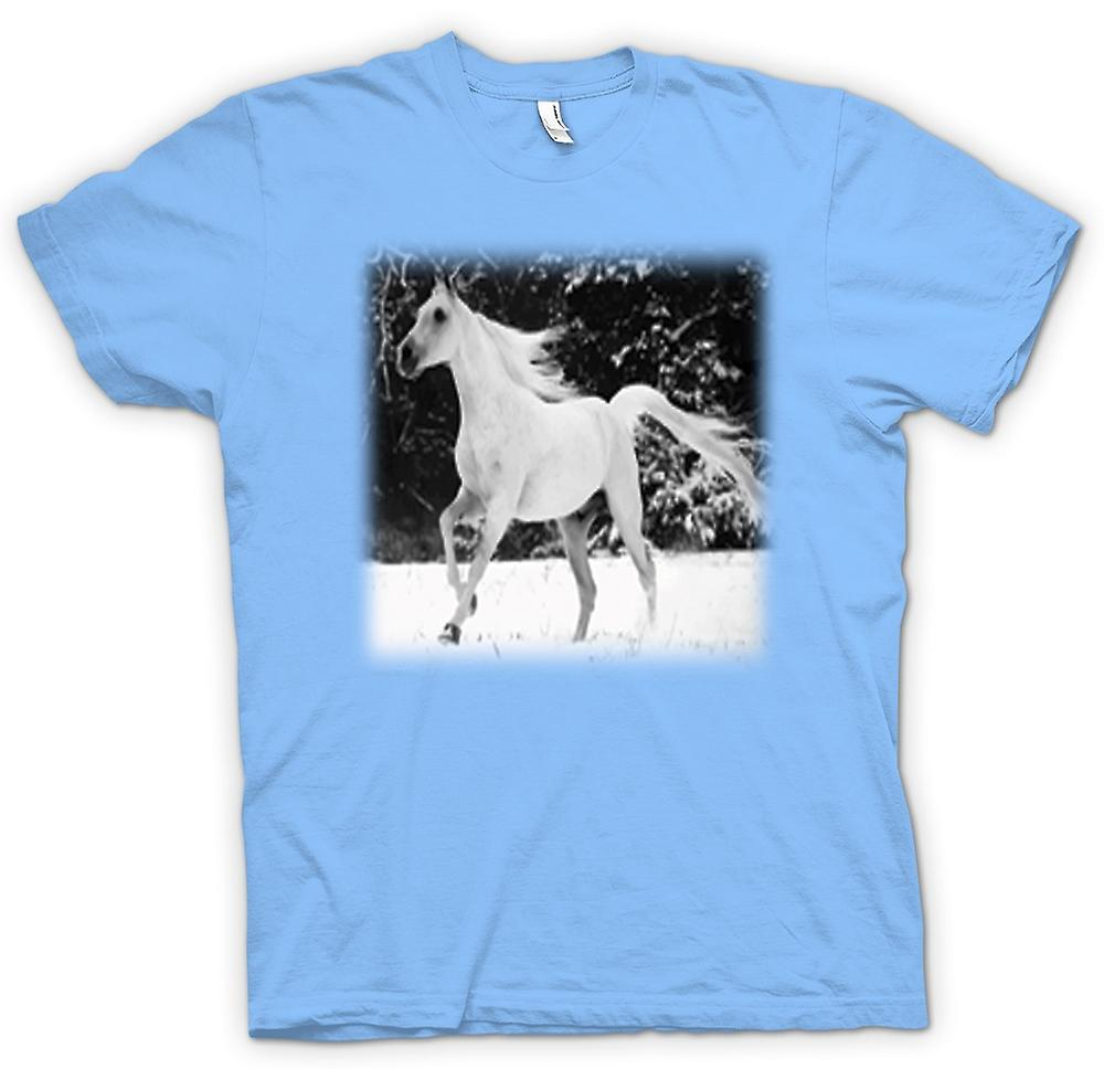 Mens T-shirt - & White Running Horse Design