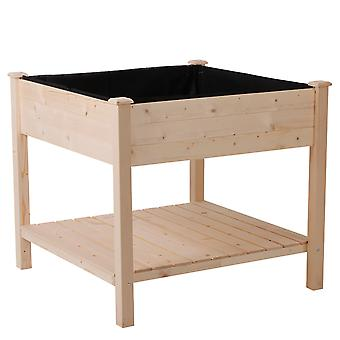 Outsunny Elevated Garden Planting Bed Stand Outdoor Flower Box w/ Storage Shelf Vegetables Planter Herbs Table