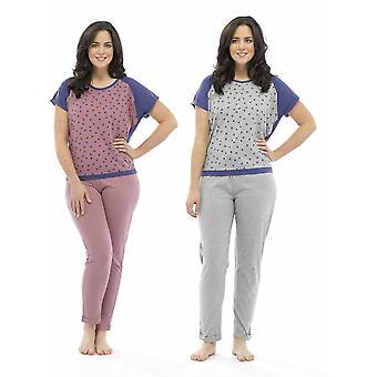 2 Pack Damen Tom Franks Star Print Polycotton lange Pyjama Pyjama Lounge tragen