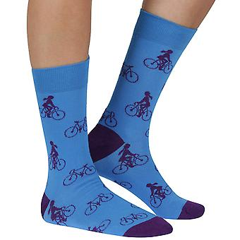 Cycling Woman bamboo organic crew sock in blue | seriouslysillysocks