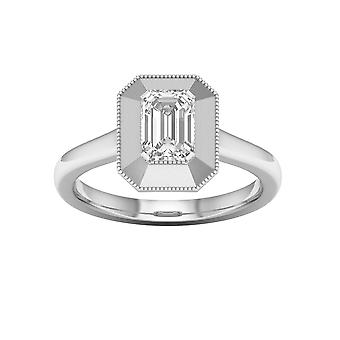 DE COUER 3/4Ct TDW Baguette Diamond 14k White Gold Solitaire Engagement Ring (I-J, I2)