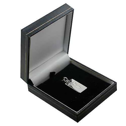 Silver 26x13mm hand engraved rectangular medical alarm