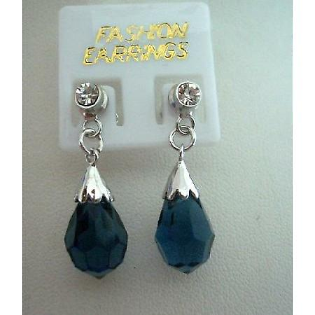 925 Sterling Silver Earrings Surgical Earrings w/ Crystal Teardrop