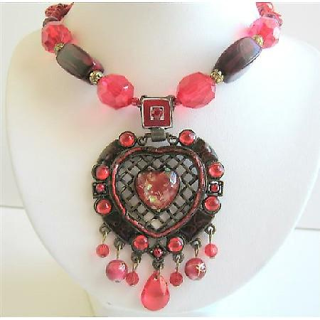 Beautiful Necklace Sexy Red Heart Embedded In Ethnic Oxidized Metal