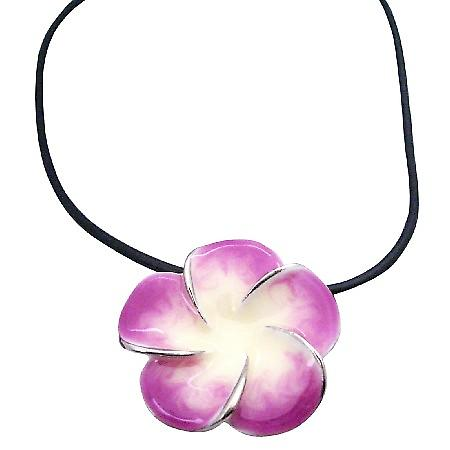 Orchid Pendant Black Velvet Chord Necklace Gift Christmas Jewelry