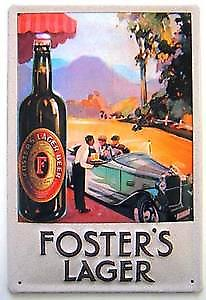 Fosters Lager (car) embossed metal sign
