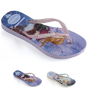 Kids Girls Havaianas Slim Frozen Lightweight Disney Rubber Flip Flops