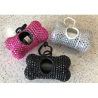 Bling Diamante Poop Bag Dog Waster Holder Sparkly Poo Lead Clip Sparkle Dog Accessories