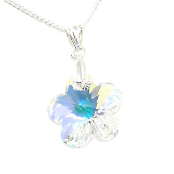 Toc Sterling Silver Crystal Flower Pendant on 18 Inch Chain