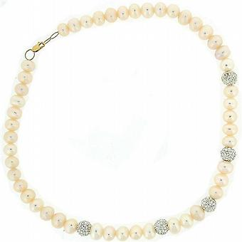 Freshwater Pearl & Crystal Ball Necklace  with 9 Carat Yellow Gold Clasp
