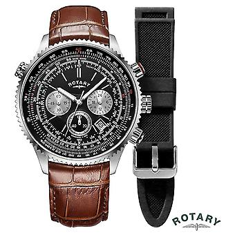 Rotary | Mens | Pilots Chronograph | Interchangeable Strap | GS00100/04/KIT Watch