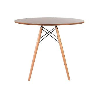 Fusion Living Eiffel Inspired Medium Walnut Circular Dining Table With Beech Wood Legs