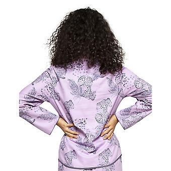 Cyberjammies 4181 kvinnors Laura Pink mix Leopard Print bomull pyjamas topp