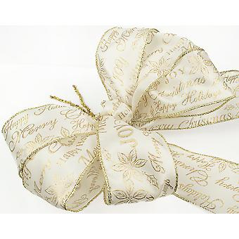Large Three Loop Ivory & Gold Christmas Sentiment Wreath or Tree Bow with Tails