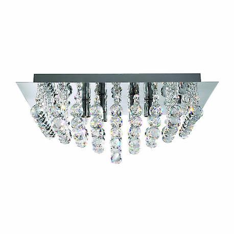 4 lumière Square Ceiling Semi Flush lumière Chrome, Crystal Glass