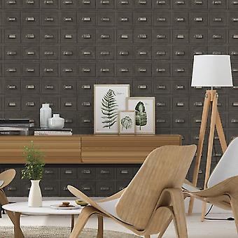 Rasch Wood Cabinet skuffer mønster bakgrunn vintage realistisk faux effekt 524017