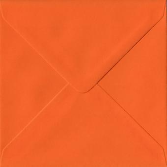 Orange Gummed 155mm Square Coloured Orange Envelopes. 100gsm FSC Sustainable Paper. 155mm x 155mm. Banker Style Envelope.