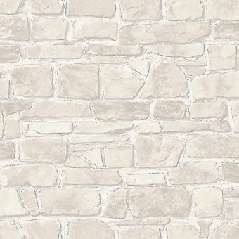 3D Effet Brique Papier peint Blanc Argent Métallisé Mur en pierre rustique Textureral Rasch