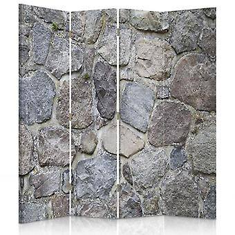 Room Divider, 4 Panels, Double-Sided, 360 ° Rotatable, Canvas, Stone Wall