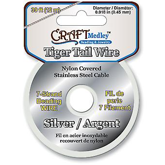 Tiger Tail Beading Wire 7 Strand .45Mm 39Ft Pkg Silver Bd922 A
