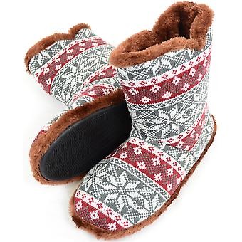 Mens Knitted Style Slipper Boots / Booties with Warm Faux Fur Lining - Grey / White - Medium