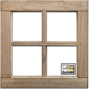 Salvaged 4-Pane Wood Window Frame-Weathered Wood 16