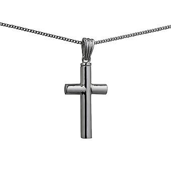 Silver 32x18x4mm handmade plain Memorial Cross with a curb Chain 24 inches