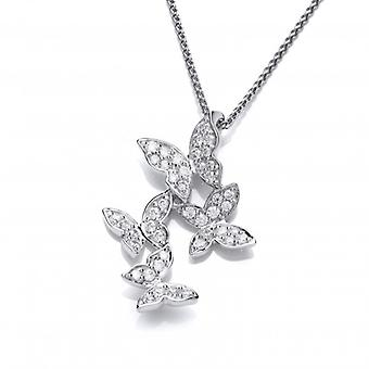 Cavendish French Cubic Zirconia and Sterling Silver Four Butterflies Pendant without Chain