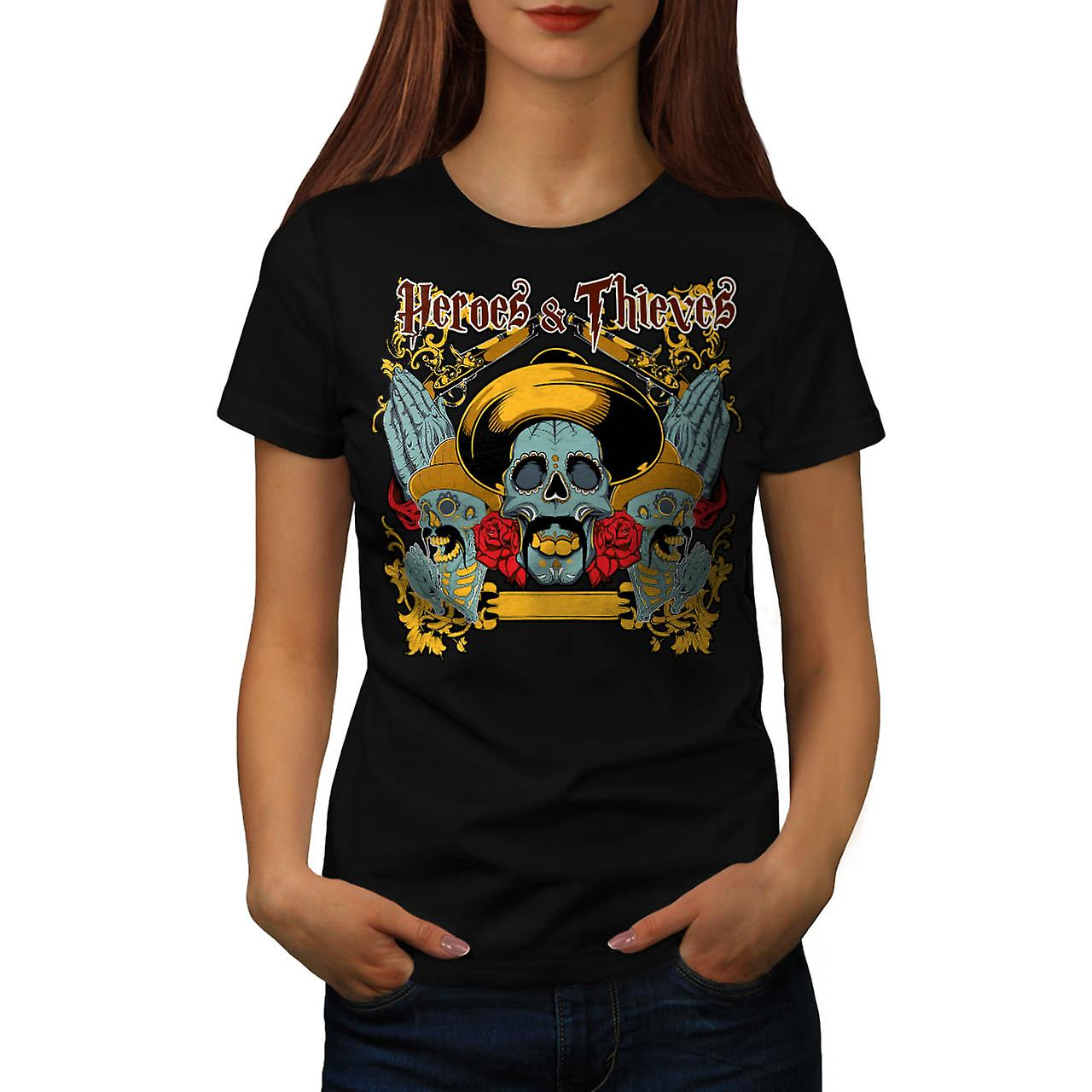 Heroes Thieves Mexico Dead Skull Women Black T-shirt | Wellcoda