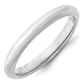 14k White Gold 3mm Standard Comfort Fit Band Ring - Ring Size: 4 to 14