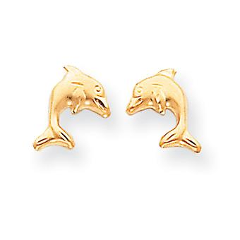 14k Yellow Gold Sparkle-Cut Post Earrings Satin Dolphin Earrings - .3 Grams - Measures 10x9mm