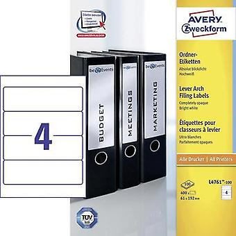 Avery-Zweckform L4761-100 Labels (A4) 61 x 192 mm Paper White 400 pc(s) Permanent Lever arch file labels Inkjet, Laser,