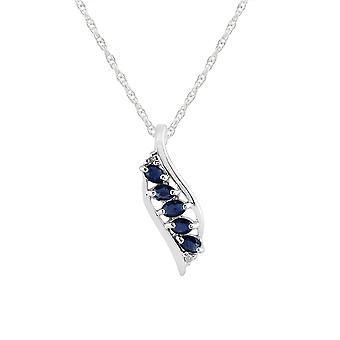 Sterling Silver ct 0,43 zaffiro blu naturale & diamante ciondolo foglia su catena