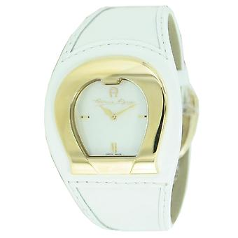 Aigner ladies watch bracelet watch White leather strap A41202