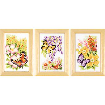 Butterflies & Flowers Miniatures Counted Cross Stitch Kit-2.5