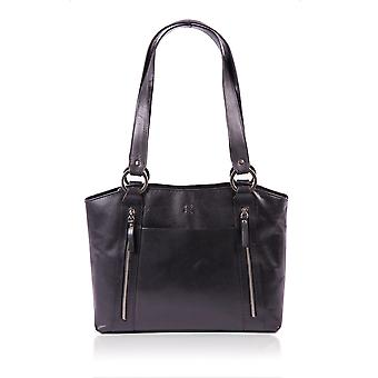 Waxy Leather Shopper Bag in Black