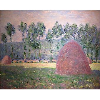 Claude Monet - hooibergen in Giverny Poster Print Giclee