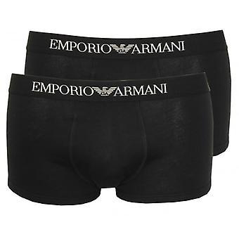 Emporio Armani 2-Pack Pure Cotton Boxer Trunks, Black