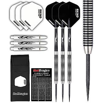 PEGASUS 80% TUNGSTEN STEEL DARTS SET - 21 Gram - Winmau Rhino flights, Red Dragon Nylon Shafts, Wallet & Red Dragon Checkout Card