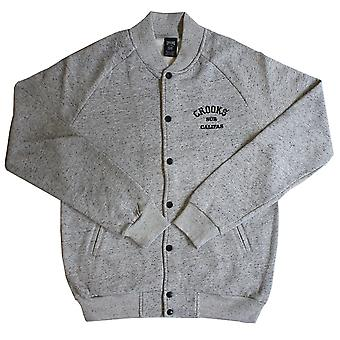 Crooks & Castles Sur Califas Woven Baseball Jacket Lt Grey Speckle