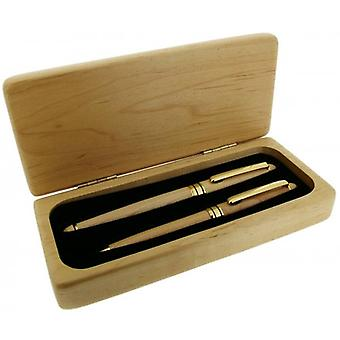 Gift Time Products Deluxe Box with Standard Pen and Roller Pen - Light Brown/Gold