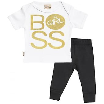Spoilt Rotten BOSS Girl Baby T-Shirt & Baby Jersey Trousers Outfit Set
